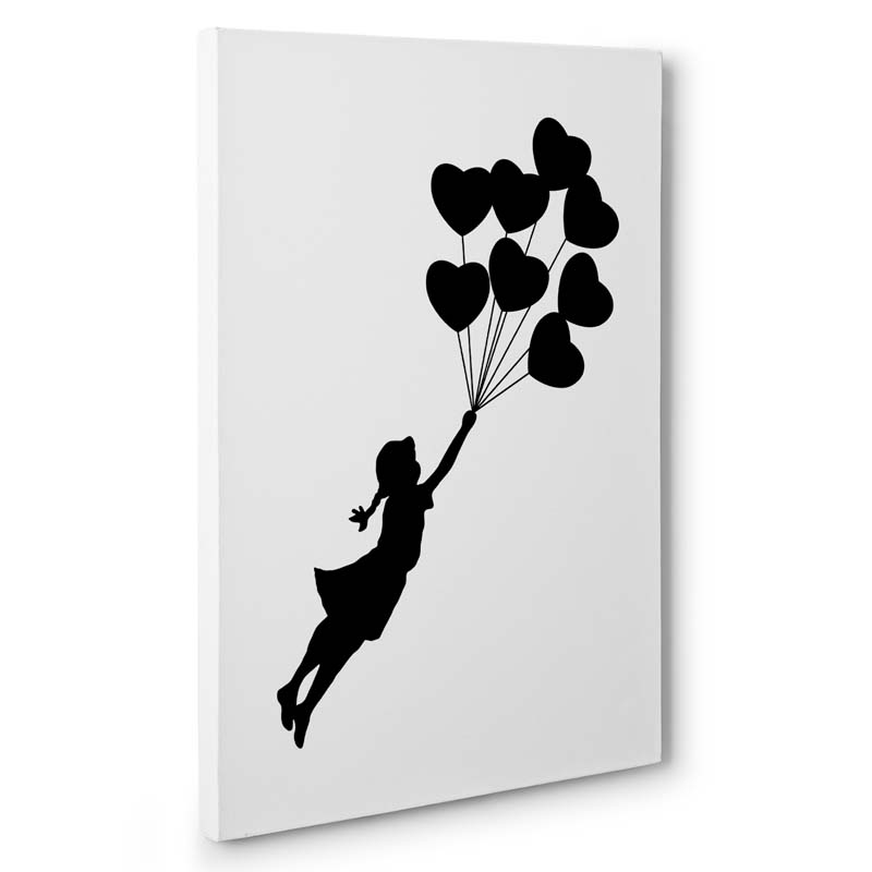 Stampa artistica Flying Girl Hearts